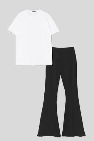 WOMEN Together Again Oversized Tee and Flare Pants Set