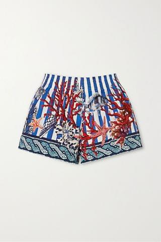 WOMEN F.R.S FOR RESTLESS SLEEPERS Toante shirred printed cotton-poplin shorts