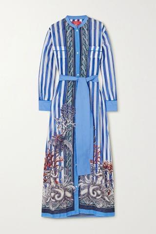 WOMEN F.R.S FOR RESTLESS SLEEPERS Galene belted printed cotton and silk-blend maxi dress