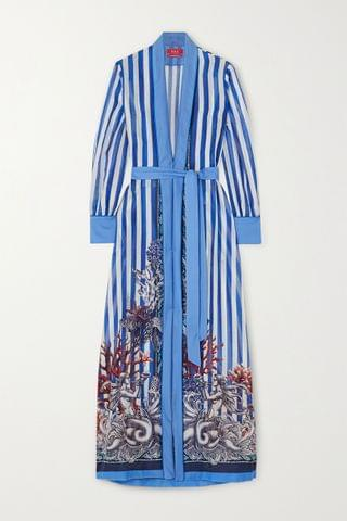 WOMEN F.R.S FOR RESTLESS SLEEPERS Tharos belted printed cotton and silk-blend kaftan