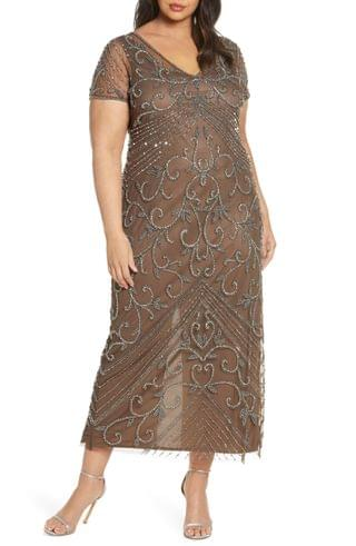 WOMEN Pisarro Nights Beaded Mesh Gown (Plus Size)