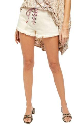 WOMEN Free People Becket Lace-Up Cutoff Denim Shorts