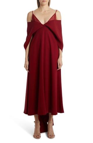 WOMEN Valentino Cold Shoulder Cape Sleeve Silk Cady Gown