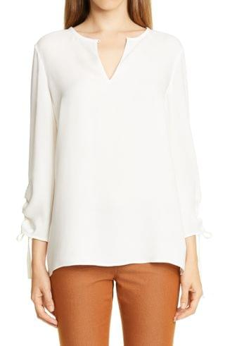 WOMEN Lafayette 148 New York Jacoby Ruched Sleeve Silk Blouse