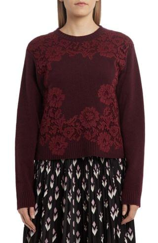 WOMEN Valentino Floral Lace Wool & Cashmere Sweater