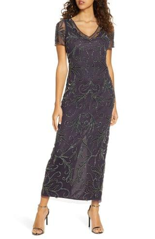 WOMEN Pisarro Nights Illusion Beaded Mesh Gown