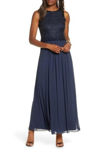 WOMEN Pisarro Nights Beaded Bodice Chiffon Gown