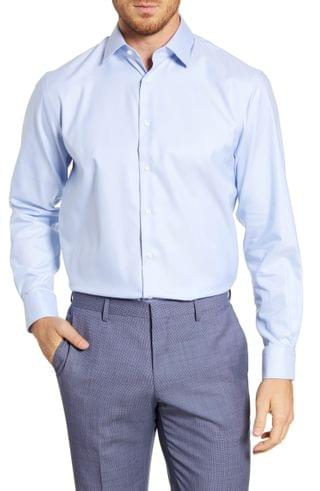 MEN Nordstrom Men's Shop Traditional Fit Non-Iron Solid Stretch Dress Shirt