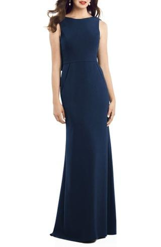 WOMEN Dessy Collection Crepe Trumpet Gown