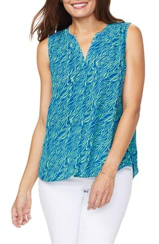 WOMEN NYDJ Print Pleat Back Sleeveless Split Neck Blouse (Regular & Petite) (Nordstrom Exclusive)