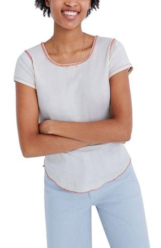WOMEN Madewell Contrast Stitch Ribbed Baby T-Shirt
