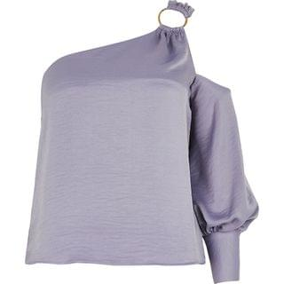 WOMEN Purple one shoulder buckle top