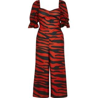 WOMEN Red tiger print sweetheart neck jumpsuit