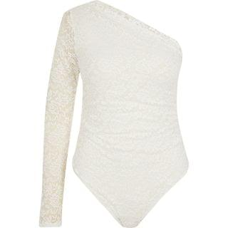 WOMEN White lace one shoulder bodysuit