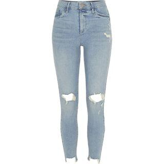 WOMEN Light blue ripped Molly mid rise jeggings