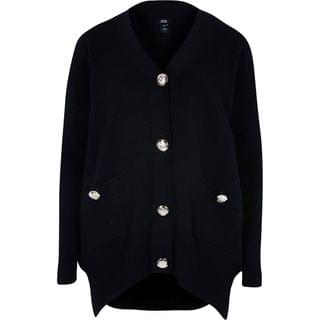 WOMEN Black ribbed cardigan