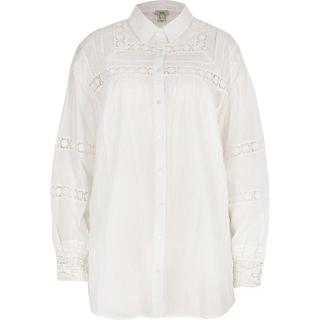 WOMEN White long sleeve embroidered shirt