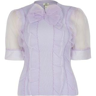 WOMEN Purple short sleeve organza bow top