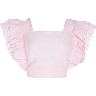 WOMEN Pink square neck frill top