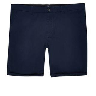 MEN Big and Tall navy skinny fit chino shorts
