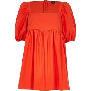 WOMEN Red short puff sleeve smock playsuit