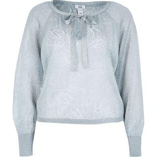 WOMEN Silver sheer knitted blouse