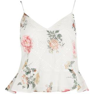 WOMEN White sleeveless embellished floral cami top
