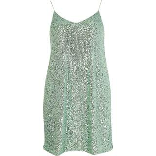 WOMEN Green sequin slip dress