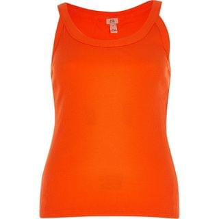 WOMEN Orange ribbed v neck fitted vest