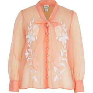 WOMEN Light pink organza embroidered blouse
