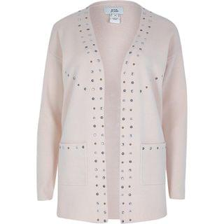 WOMEN Beige stud detail knitted Cardigan