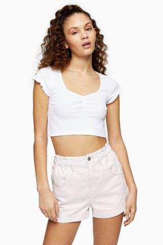 WOMEN White Ribbed Ruched Crop Top