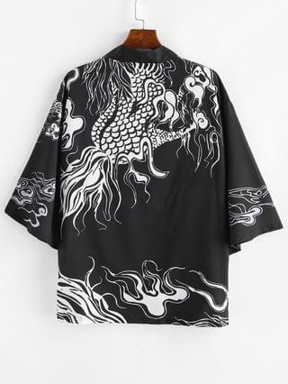 MEN Dragon Pattern Open Front Kimono Cardigan - Black 3xl