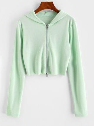WOMEN Ribbed Raw Hem Full Zip Hoodie - Light Green Xl
