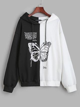 WOMEN Bicolor Butterfly Graphic Casual Pullover Hoodie - Black Xl
