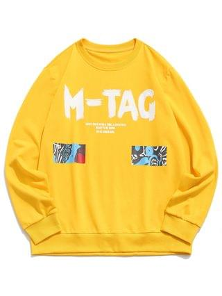 MEN Letter Graphic Pattern Casual Sweatshirt - Yellow 2xl