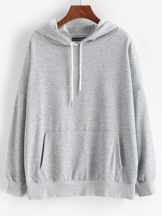 WOMEN Drop Shoulder Kangaroo Pocket Loose Hoodie - Light Gray L
