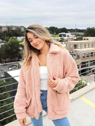 WOMEN X Yasmine Bateman Pocket Zipper Drop Shoulder Fluffy Teddy Coat - Pink S