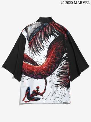 MEN Marvel Spider-Man Venom Open Front Kimono Cardigan - Black 2xl