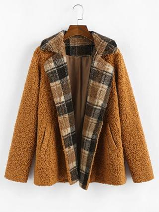 WOMEN Plaid Faux Shearling Fluffy Pocket Teddy Coat - Red Dirt S