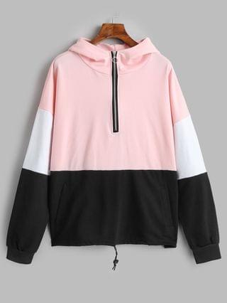 WOMEN Half Zip Colorblock Hoodie With Pockets - Pink Xl