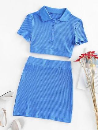 WOMEN Ribbed Knit Two Piece Skirt Set - Blue L