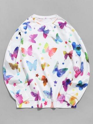 MEN Stars And Butterflies Print Pullover Sweatshirt - White 3xl