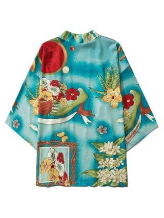 MEN Flower Print Open Front Kimono Cardigan - Medium Turquoise 2xl