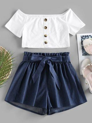 WOMEN Off Shoulder Chambray Two Piece Shorts Set - Blue S