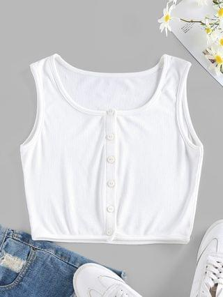 WOMEN Ribbed Button Up Crop Tank Top - White M