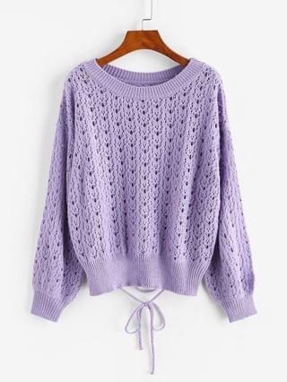 WOMEN Crew Neck Lace Up Pointelle-knit Pullover Sweater - Purple