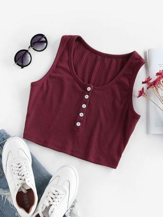 WOMEN Ribbed Crop Henley Tank Top - Red M
