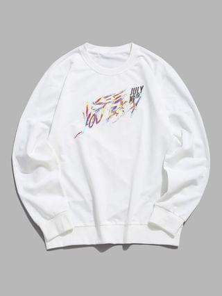 MEN Pullover Crew Neck Letters Sweatshirt - White M