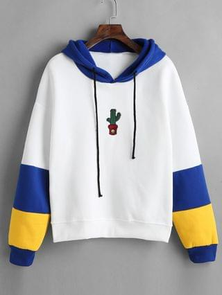 WOMEN Cactus Embroidered Color Block Hoodie - White Xl